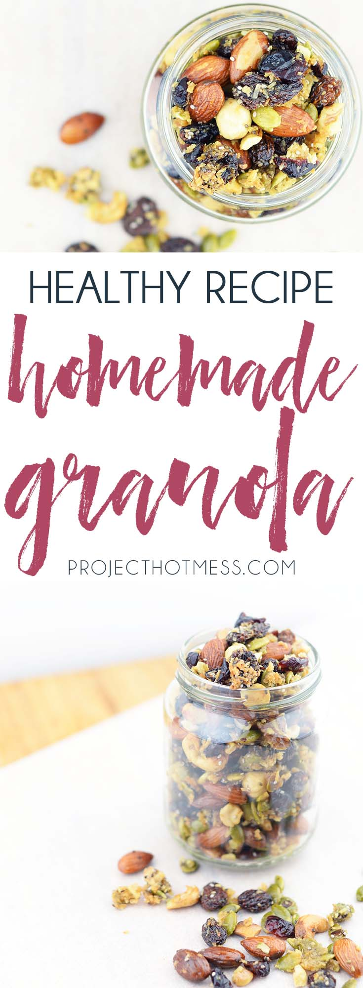 If I don't have a healthy snack on hand I'll start eating everything in sight, which is why this easy healthy homemade granola recipe hits the spot. Yum! Healthy Granola | Granola Recipe | Homemade Granola | Paleo | Paleo Granola | Gluten Free | Gluten Free Granola | Vegan | Vegan Granola | Easy Granola | Paleo Snack