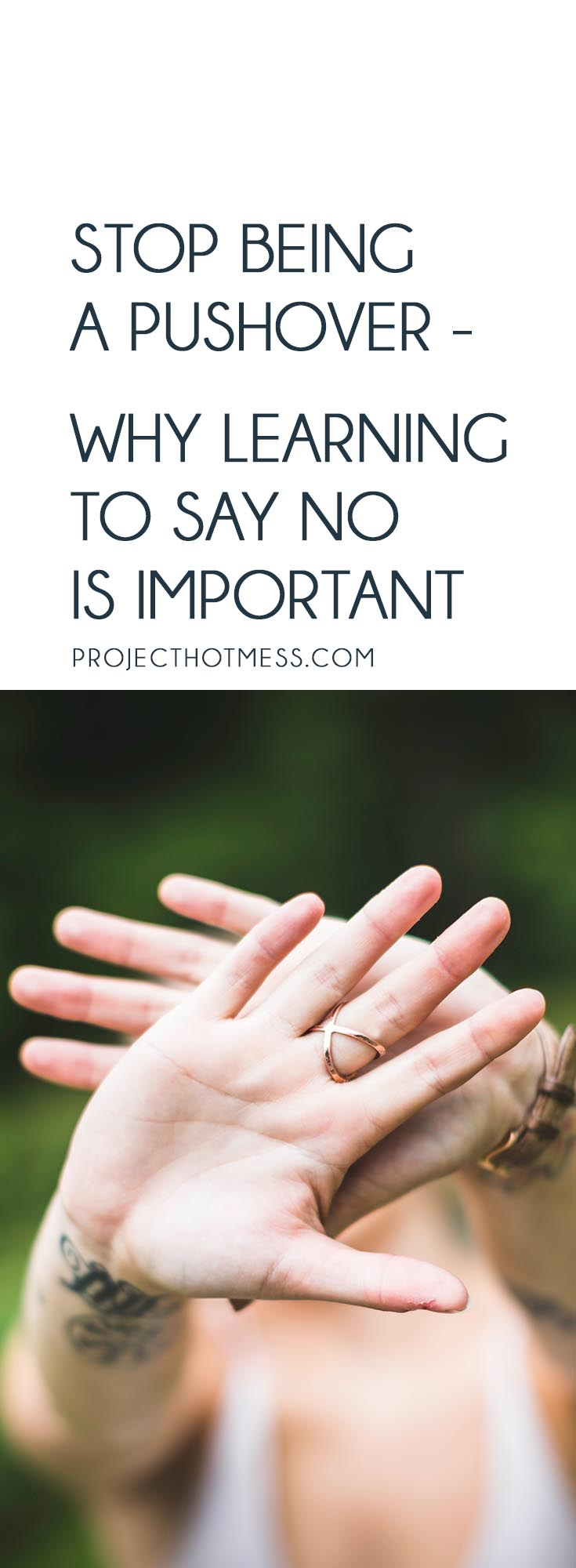 When was the last time you said 'no' to someone? Do you need to stop being a pushover? Learning how to say no is so important - for you and for your family.